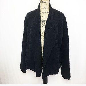 Ann Taylor LOFT black fuzzy asymmetric jacket